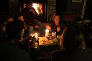 Apres ski  by the fireplace at the Algonquin Cottage Outpost
