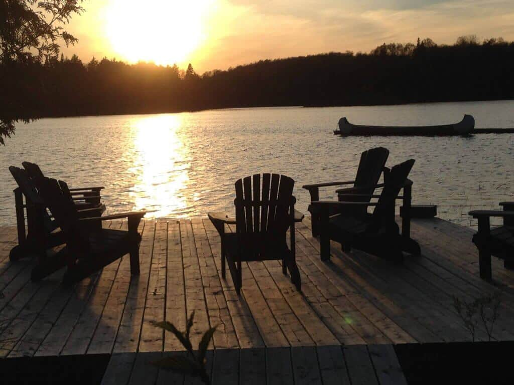 summer chair and canoe
