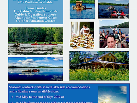 Algonquin Park Guiding and Support Employment Opportunities for 2019