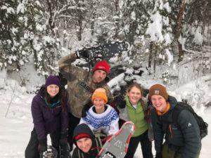 snoeshow, staff, winter, river, surprise lake