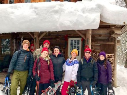 log cabin, winter, staff, snowshoe